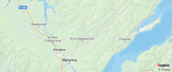 Карта Эхирит-булагатского района Иркутской области с городами и населенными пунктами