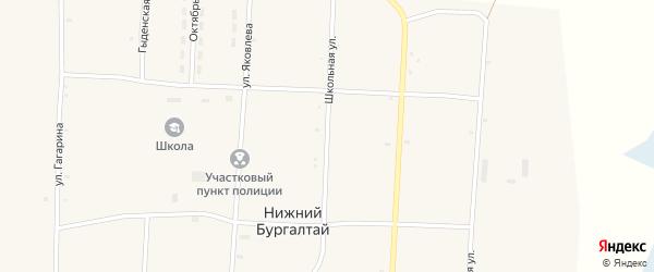 Школьная улица на карте улуса Нижнего Бургалтая с номерами домов