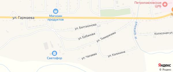 Улица Ербанова на карте села Петропавловки Бурятии с номерами домов