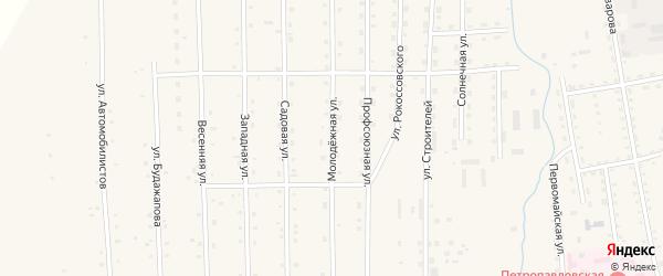 Молодежная улица на карте села Петропавловки Бурятии с номерами домов