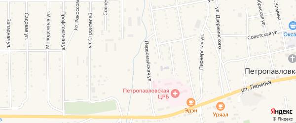 Первомайская улица на карте села Петропавловки Бурятии с номерами домов