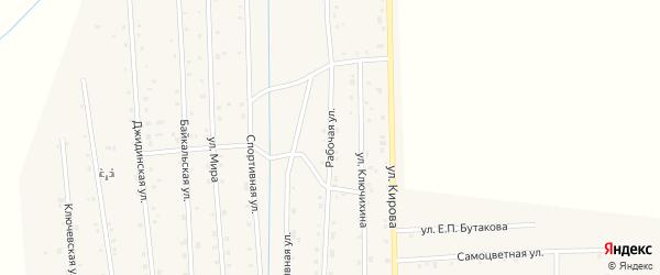 Рабочая улица на карте села Петропавловки Бурятии с номерами домов