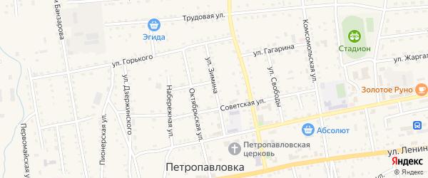 Улица Зимина на карте села Петропавловки Бурятии с номерами домов