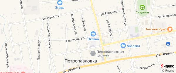 Советская улица на карте села Петропавловки Бурятии с номерами домов