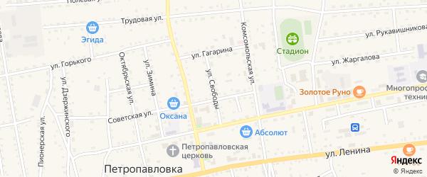 Улица Свободы на карте села Петропавловки Бурятии с номерами домов