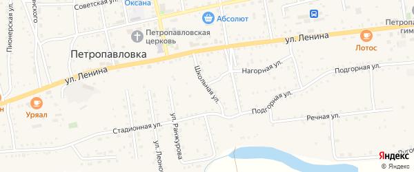 Школьная улица на карте села Петропавловки Бурятии с номерами домов