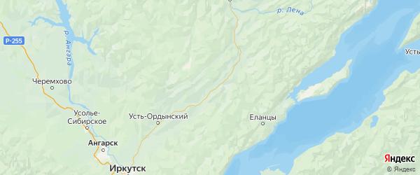 Карта Баяндаевского района Иркутской области с городами и населенными пунктами