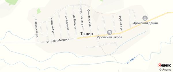 Карта улуса Ташир в Бурятии с улицами и номерами домов