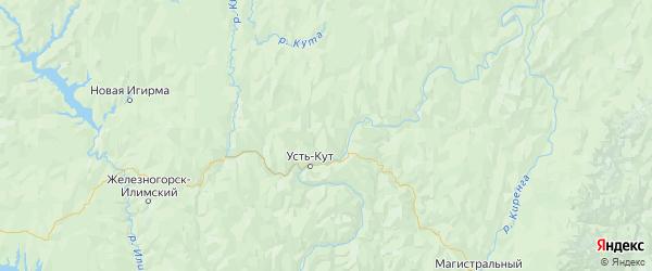 Карта Усть-Кутский района Иркутской области с городами и населенными пунктами