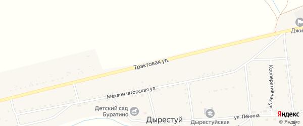Трактовая улица на карте улуса Дырестуй с номерами домов