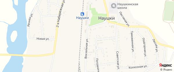 Вокзальная улица на карте поселка Наушек с номерами домов