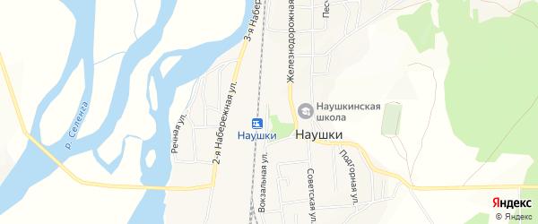 Карта поселка Наушек в Бурятии с улицами и номерами домов