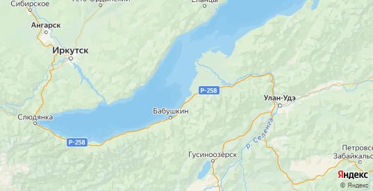 Карта Кабанского района республики Бурятия с городами и населенными пунктами