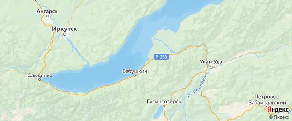Карта Кабанского района Республики Бурятии с городами и населенными пунктами