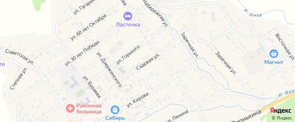 Садовая улица на карте села Еланцы Иркутской области с номерами домов