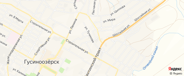 Карта поселка Тухума города Гусиноозерска в Бурятии с улицами и номерами домов