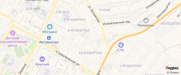 Короткая улица на карте поселка Тухума с номерами домов