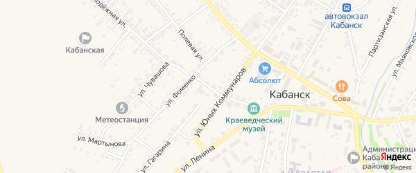 Переулок Фоменко на карте села Кабанск Бурятии с номерами домов