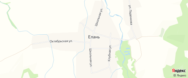 Карта местечка Елани в Бурятии с улицами и номерами домов