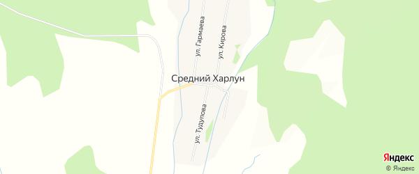 Карта улуса Среднего Харлун в Бурятии с улицами и номерами домов