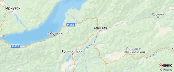 Карта Иволгинского района республики Бурятия с населенными пунктами и городами