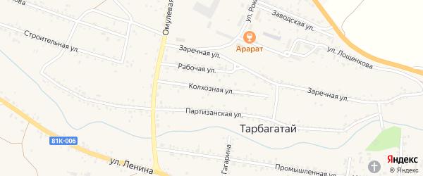 Колхозная улица на карте села Тарбагатая Бурятии с номерами домов