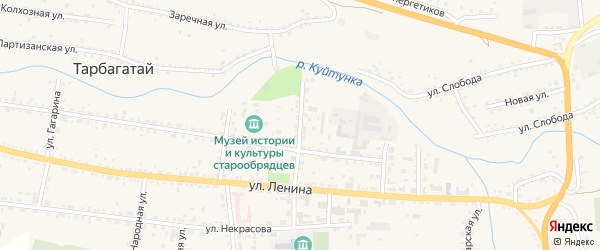 Школьная улица на карте села Тарбагатая с номерами домов