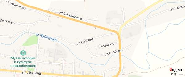 Улица Слобода на карте села Тарбагатая с номерами домов