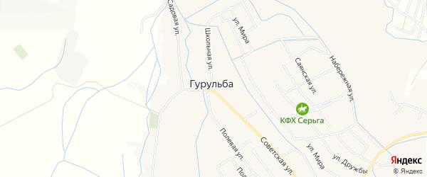 Карта села Гурульбы в Бурятии с улицами и номерами домов