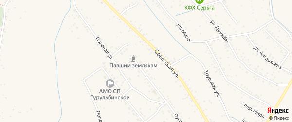 Луговой переулок на карте села Гурульбы с номерами домов