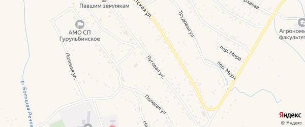 Луговая улица на карте села Гурульбы с номерами домов