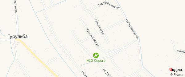 Тункинская улица на карте села Гурульбы Бурятии с номерами домов