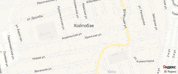 Удинская улица на карте улуса Хойтобэе с номерами домов
