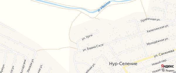 Улица Ургы на карте улуса Нур-селения Бурятии с номерами домов