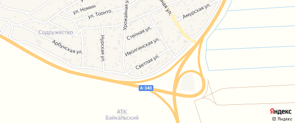 Светлая улица на карте территории ДНТ Авиатор-2 с номерами домов