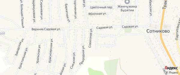 Совхозная улица на карте территории ДНТ Выбора с номерами домов