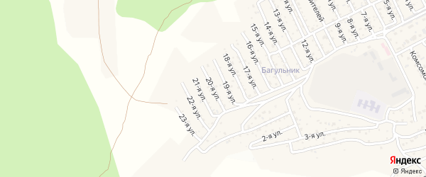 2-й квартал 20-я улица на карте территории СНТ Багульника с номерами домов