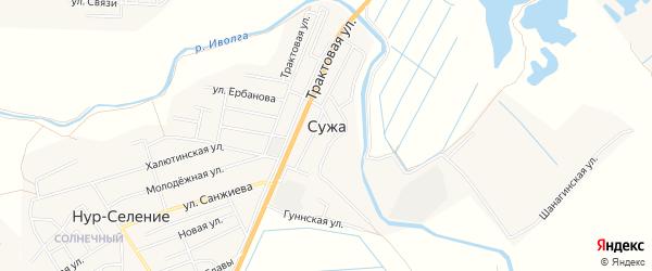Карта села Сужа в Бурятии с улицами и номерами домов