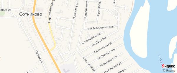 Улица Далахайская (ДНТ Респект) на карте села Сотниково Бурятии с номерами домов