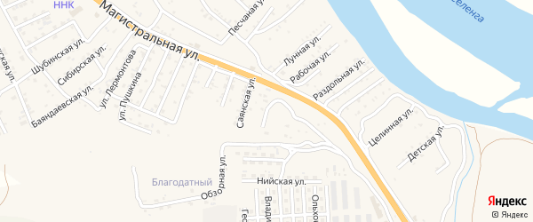 Квартал Придорожный Баргузинская улица на карте села Сотниково с номерами домов