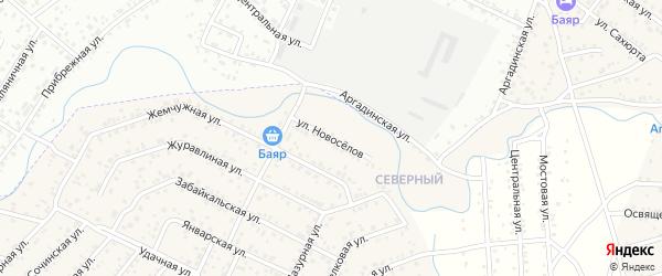 Улица Новоселов квартал Северный на карте села Сужа с номерами домов