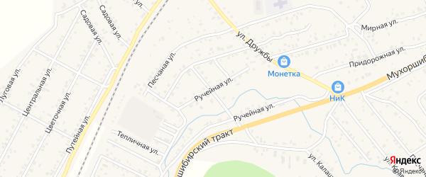 Ручейная улица на карте села Нижнего Саянтуя с номерами домов
