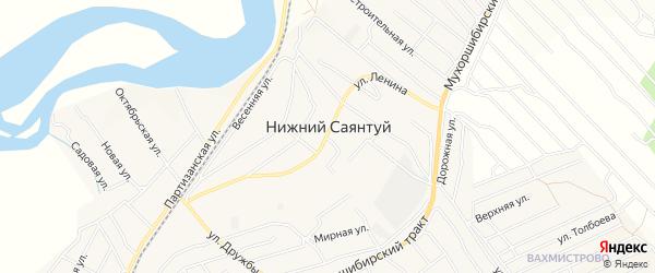 Дачное некоммерческое партнерство ДНТ Золотая поляна на карте села Нижнего Саянтуя Бурятии с номерами домов