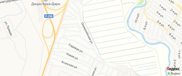 Карта территории СНТ Дружбы города Улан-Удэ в Бурятии с улицами и номерами домов