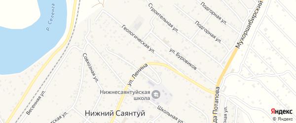 Равнинная улица на карте села Нижнего Саянтуя с номерами домов