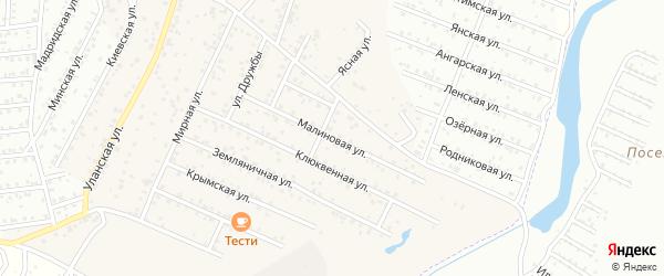 Малиновая улица на карте ДНТ Улаалзай Бурятии с номерами домов
