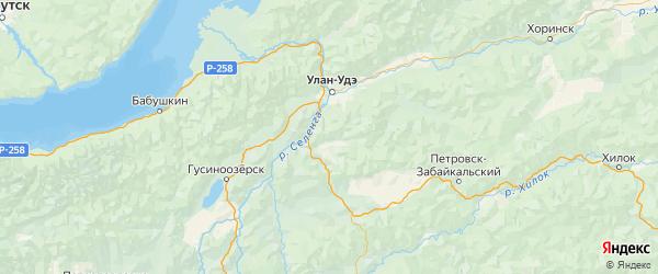 Карта Тарбагатайского района Республики Бурятии с городами и населенными пунктами