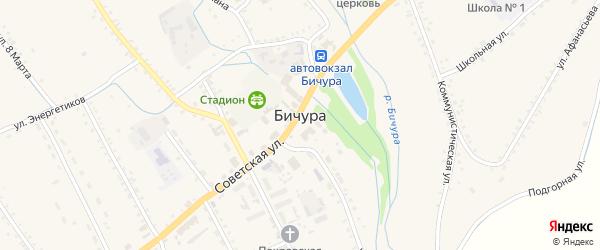 Пионерский переулок на карте села Бичура с номерами домов