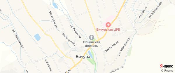 Карта села Бичура в Бурятии с улицами и номерами домов