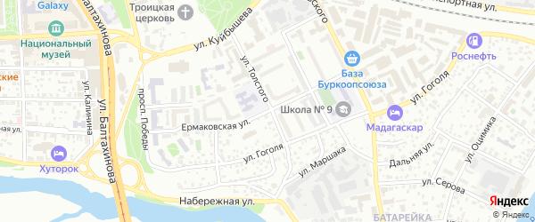 Ермаковская улица на карте Улан-Удэ с номерами домов